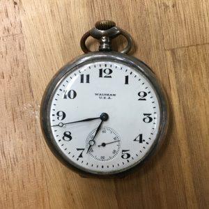 千葉県流山市にて骨董・アンティーク時計の買取り(ウォルサム懐中時計・鉄道時計)